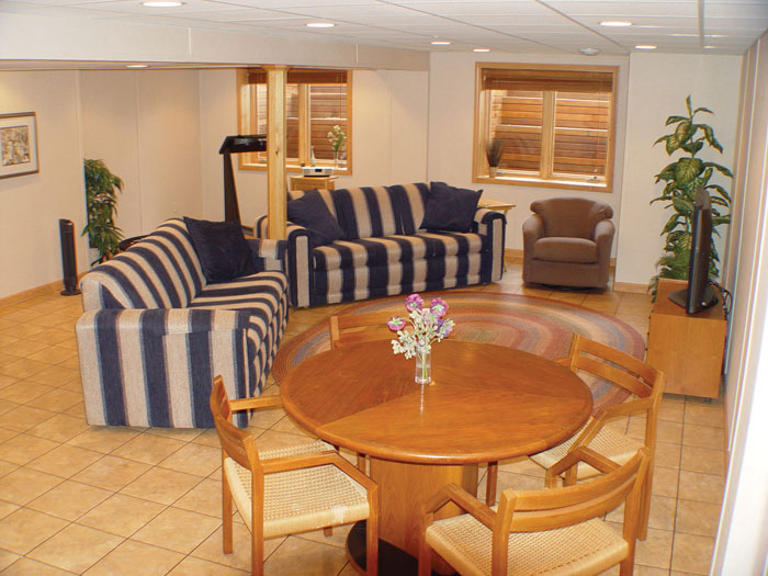 Waterproof Tiled Basement Flooring In Minnesota And Wisconsin Finished Basement Floor Tiles In Mn And Wi