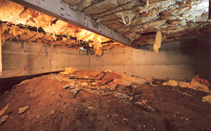 Crawl Space Moisture Barrier before in Duluth