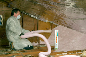 Fiberglass Insulation being used to add energy efficiency to an attic in Hermantown