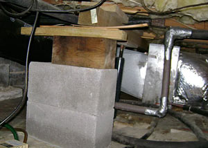 a poorly designed crawl space support system installed in a Hayward home