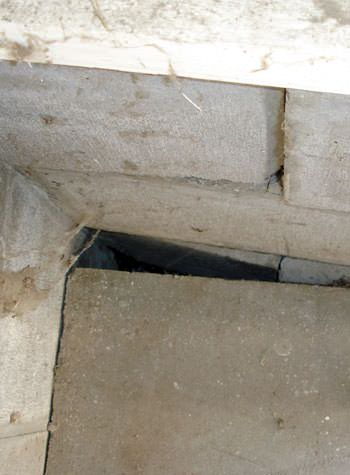 inward rotation of a foundation wall damaged by street creep in a garage in Solon SPrings