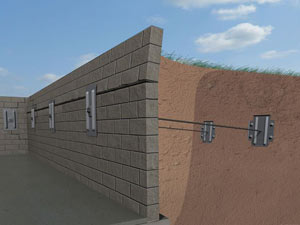A graphic illustration of a foundation wall system installed in Ely