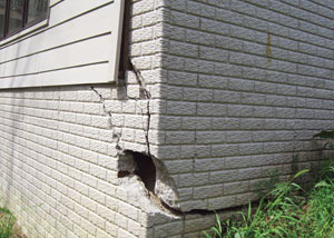 A severely damaged foundation wall in Virginia