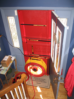 Blower door test for Cloquet homes