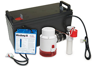 a battery backup sump pump system in Proctor